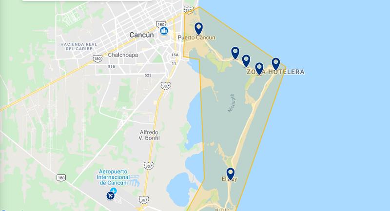 Mapa das melhores regiões para ficar em Cancún