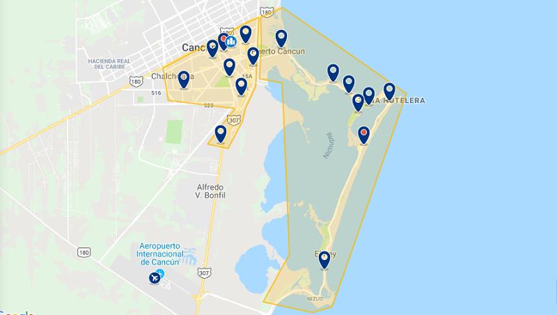 Mapa das principais regiões para ficar em Cancún