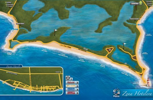 Mapa zona hoteleira em Cancún