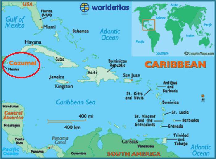 Ilha de Cozumel em Cancún Mapa