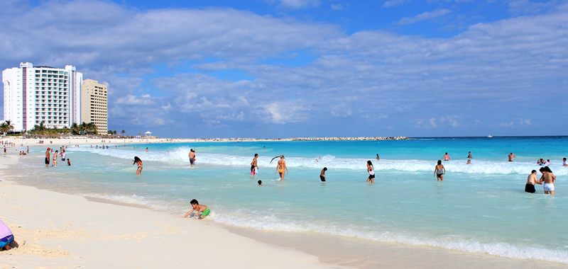 Localização da Playa Caracol em Cancún