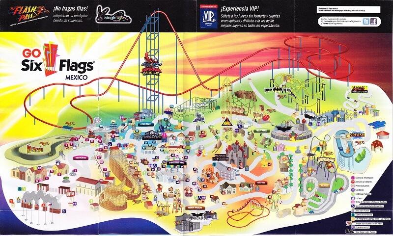 Mapa do Parque Six Falgs na Cidade do México