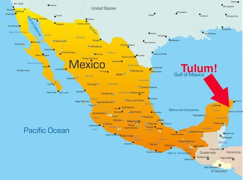 Mapa turístico de Tulum