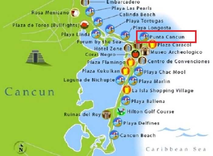 Mapa da Praia Punta Cancún em Cancún