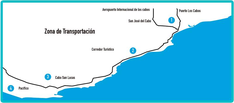 Mapa do Corredor Turístico em Los Cabos