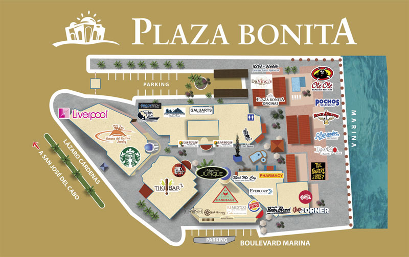 Mapa do Shopping Plaza Bonita em Los Cabos