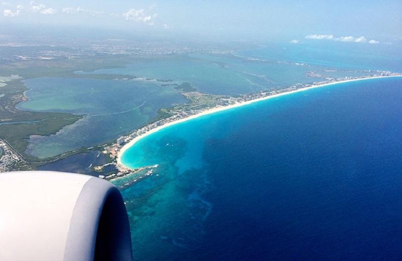 Vista paradisíaca do avião