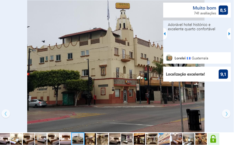 Fachada do Hotel Caesars em Tijuana
