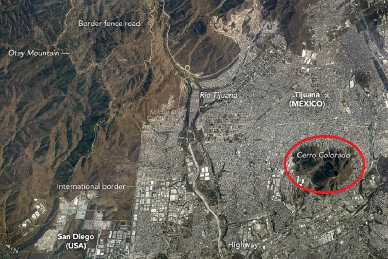 Mapa do Cerro Colorado em Tijuana