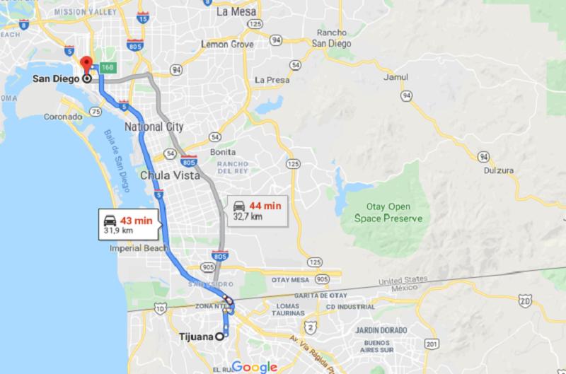 Viagem de carro de Tijuana até San Diego