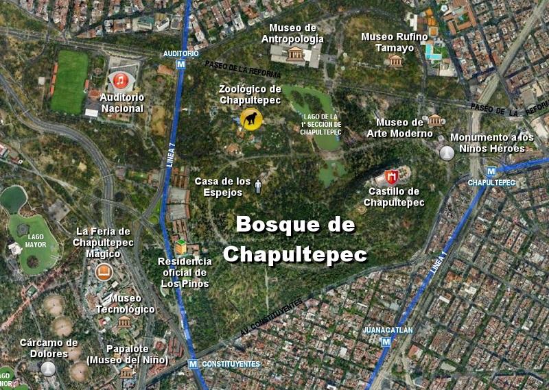 Mapa Bosque Chapultepec na Cidade do México