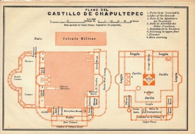 Mapa do Castelo de Chaputelpec na Cidade do México