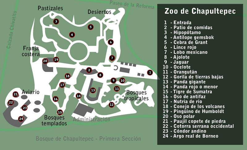 Mapa do Zoológico de Chapultepec na Cidade do México